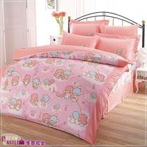 【享夢城堡】LittleTwinStars雙星樂園系列-雙人純棉四件式床包兩用被組