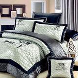 《KOSNEY 海洋之戀》加大頂級絲緞精梳棉八件式舖棉床罩組