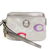 COACH 圓釦雙層拉鍊卡片手機包(銀白)