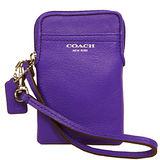 COACH 素面全皮革多功能手機套(紫)