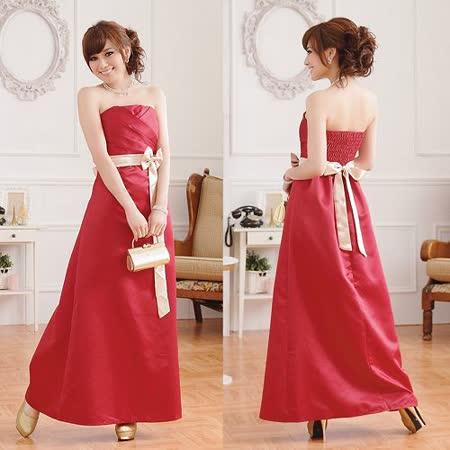 【白色戀人中大尺碼】玫瑰紅優雅高貴壓褶收腰長版晚禮服