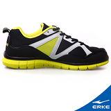 【ERKE爾克】男性運動綜合訓練慢跑鞋-正黑/果綠(歐碼:39-45)