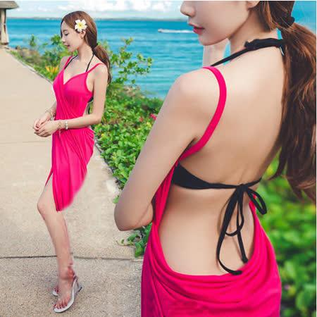 【PS Mall】仿真絲吊帶浴巾 浴裙 吊帶裙 百變浴巾 沙灘裙(H128)