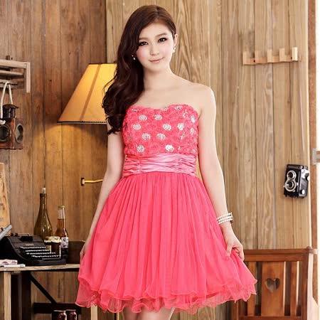 【白色戀人中大尺碼】玫紅色宮廷玫瑰蕾絲網紗平口小禮服