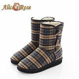 Alice's Rose英倫學院風格紋牛角扣雪靴(米黃)