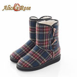 Alice's Rose英倫學院風格紋牛角扣雪靴(深紅)