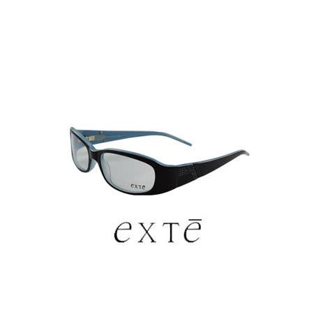 EXTE 時尚晶鑽造型膠框平光眼鏡(黑/藍) EX224