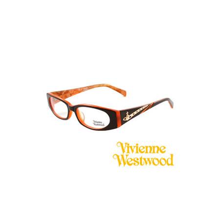 【網購】gohappy線上購物Vivienne Westwood 光學鏡框★時尚閃亮晶鑽★英倫龐克教母/平光鏡框(黑/橘) VW13701推薦台北 遠 百 寶 慶 店