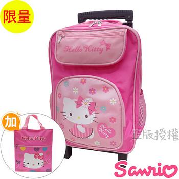 【Hello Kitty凱蒂貓】書包+補習袋-花漾三段式拉桿款(粉色)