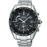 SEIKO BRIGHTZ 世界時區白鈦4局電波腕錶-黑/銀 8B54-0AL0D