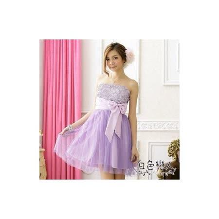 【白色戀人中大尺碼】紫色甜美蝴碟結平口網紗小禮服