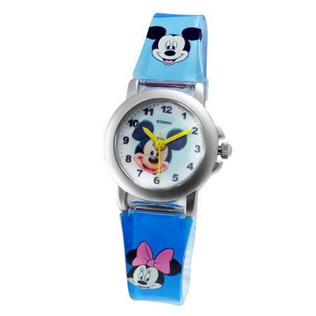 Disney大頭米奇鐵殼藍色膠帶錶