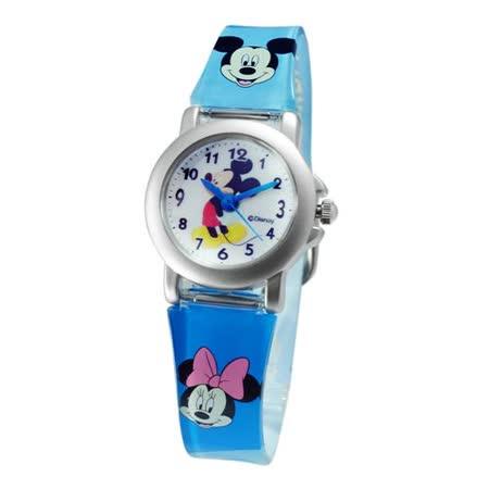 Disney側身米奇鐵殼藍色膠帶錶