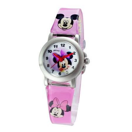 Disney看書米妮鐵殼粉紅色膠帶錶