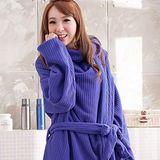 床之戀 台灣精製多用途超輕保暖纖維暖人袖毯浴袍(藍色)