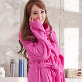 床之戀 台灣精製多用途超輕保暖纖維暖人袖毯浴袍(桃紅)