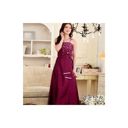 【白色戀人中大尺碼】紫紅色端莊優雅蕾絲水鑽長禮服