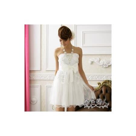 【白色戀人中大尺碼】白色甜美網花大蝴蝶結夢幻小禮服