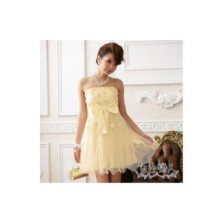 【白色戀人中大尺碼】香檳色甜美網花大蝴蝶結夢幻小禮服