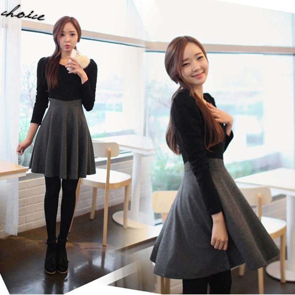 【韓系女衫】早春新款氣質甜美拼接修身大擺連衣裙