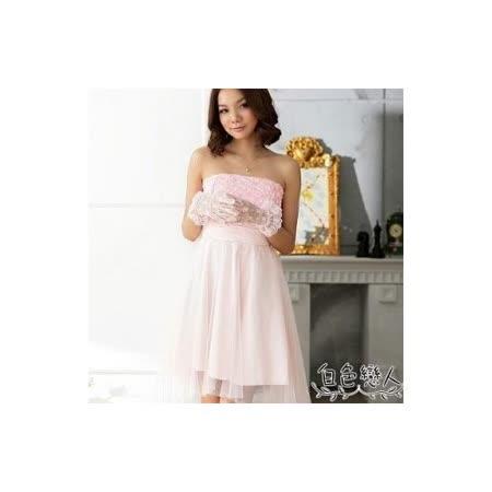 【白色戀人中大尺碼】粉色浪漫玫瑰網紗平口小禮服