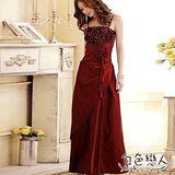 【白色戀人中大尺碼】紅色法式優雅宴會款花蕾長版禮服