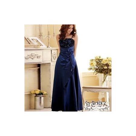 【白色戀人中大尺碼】藍色法式優雅宴會款花蕾長版禮服