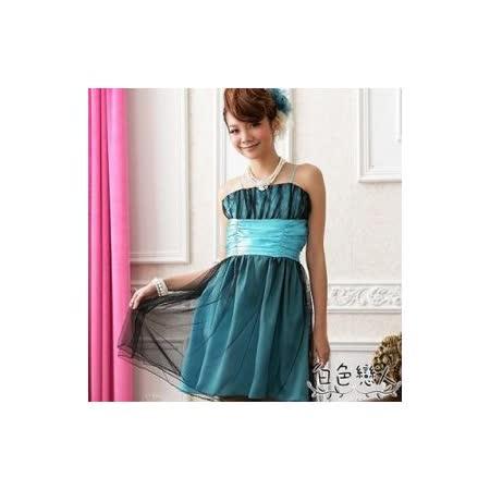 【白色戀人中大尺碼】藍色甜美夢幻波浪網紗小禮服