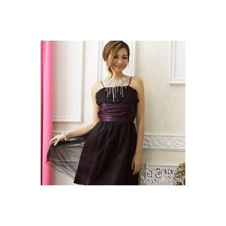 【白色戀人中大尺碼】紫色甜美夢幻波浪網紗小禮服