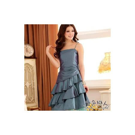 【白色戀人中大尺碼】藍綠色傾城美色荷葉裙擺優雅小禮服