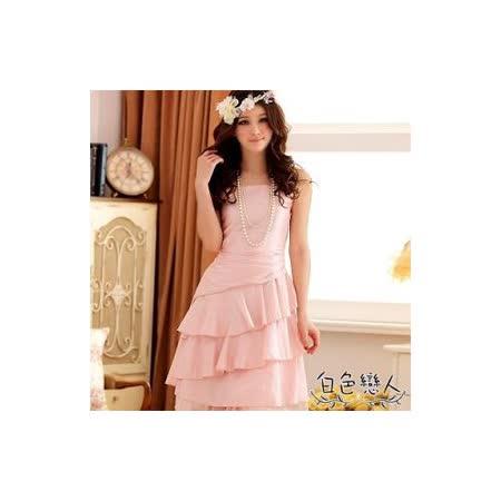 【白色戀人中大尺碼】粉色傾城美色荷葉裙擺優雅小禮服