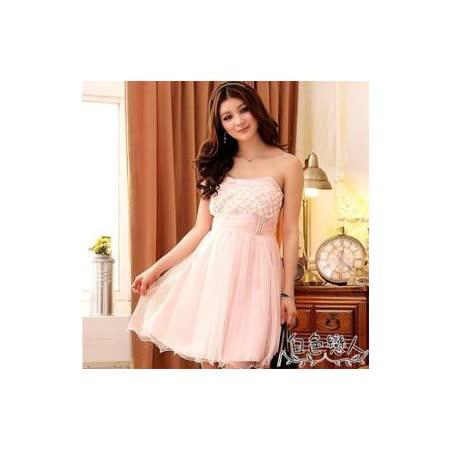 【白色戀人中大尺碼】粉紅色華麗歐式宮廷風腰間珍珠小禮服