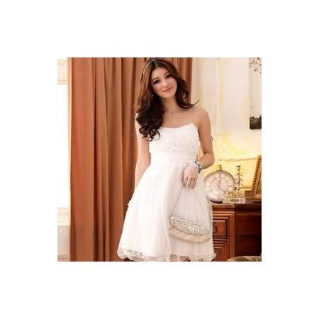 【白色戀人中大尺碼】白色華麗歐式宮廷風腰間珍珠小禮服