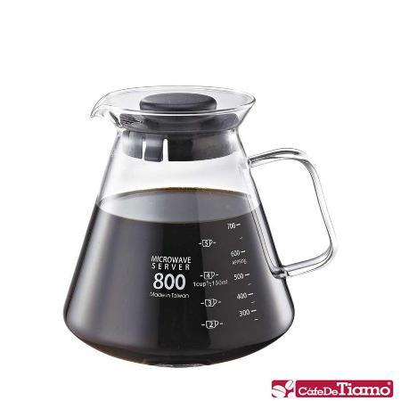 CafeDeTiamo 耐熱玻璃壺【玻璃把手】800cc (黑色) HG2223 BK