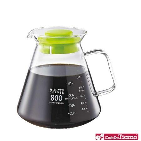 CafeDeTiamo 耐熱玻璃壺【玻璃把手】800cc (綠色) HG2223 G