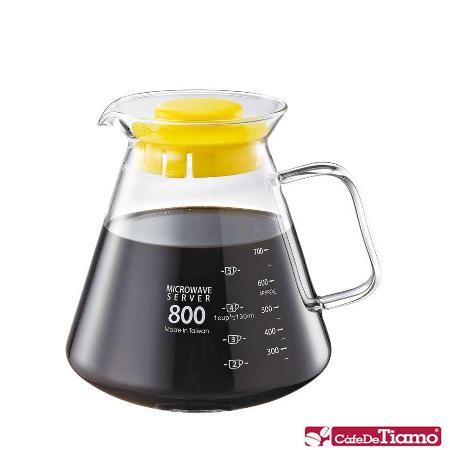 CafeDeTiamo 耐熱玻璃壺【玻璃把手】800cc (黃色) HG2223 Y