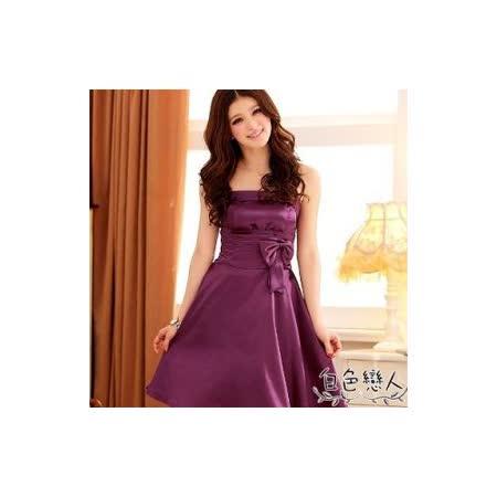 【白色戀人中大尺碼】紫色別緻動人收腰飄逸裙襬小禮服