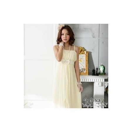 【白色戀人中大尺碼】杏黃色優雅平口高腰蝴蝶結長洋裝