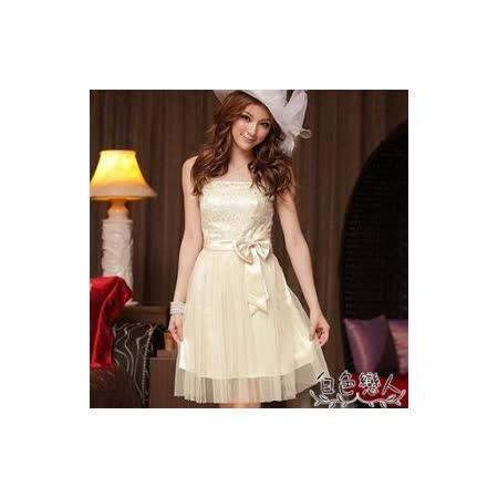 【白色戀人中大尺碼】杏色無肩帶甜美蕾絲綁帶紗質襯裙小禮服