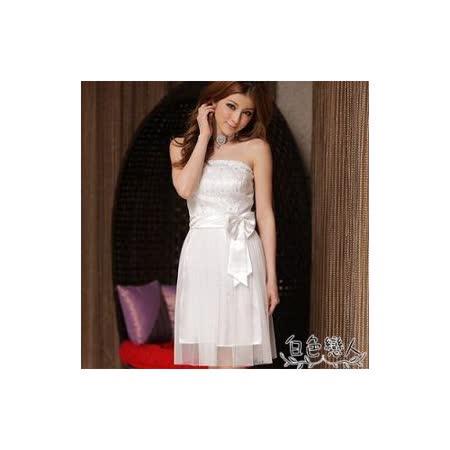 【白色戀人中大尺碼】白色無肩帶甜美蕾絲綁帶紗質襯裙小禮服