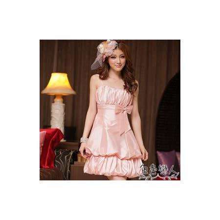 【白色戀人中大尺碼】粉色雅緻高腰胸前抓皺花苞式小禮服