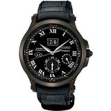 SEIKO Premier 人動電能大日期萬年曆腕錶-黑 7D48-0AH0SD