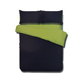 《KOSNEY 享樂-果綠深藍》頂級活性精梳棉加大床包三件組