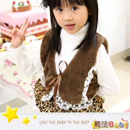 (購物車)魔法Baby~雪絨蕾絲邊綁帶咖啡背心~時尚設計童裝~k26634