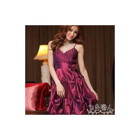 【白色戀人中大尺碼】紫色細肩帶小V領裙擺抓皺造型小禮服