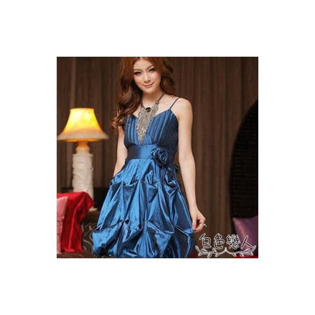 【白色戀人中大尺碼】藍色細肩帶小V領裙擺抓皺造型小禮服