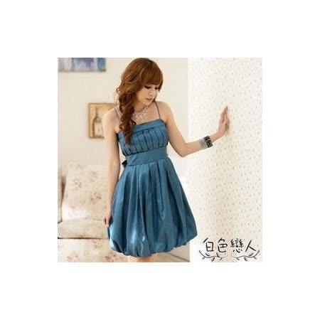 【白色戀人中大尺碼】藍色迷魅光影高腰蛋糕裙擺晚宴型小禮服