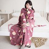 【奶油獅】台灣製造-奶油獅搖滾星星搖粒絨超保暖綁帶式袖毯-棗紅