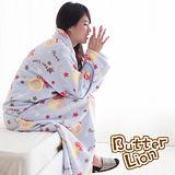 【奶油獅】台灣製造-奶油獅搖滾星星搖粒絨超保暖綁帶式袖毯-水藍