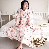 【奶油獅】台灣製造-奶油獅搖滾星星搖粒絨超保暖綁帶式袖毯-米色
